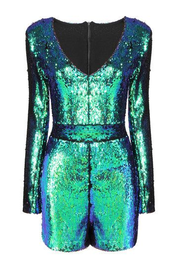 Green Playsuit with Sequin Detail from mobile - US$49.95 -YOINS