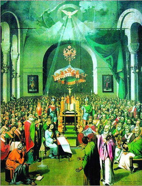 Святитель Спиридон Тримифунтский. Первый Вселенский Собор. Собор Церкви, созванный императором Константином I; состоялся в июне 325 года в городе Никея; продолжался больше двух месяцев и стал первым Вселенским собором в истории христианства.