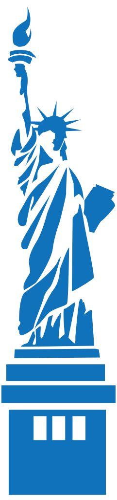 Gráficos vetoriais livres, de referências mundiais: Estátua da Liberdade, Nova York, USA. Open Clip Art Library. Fotografia: shokunin.