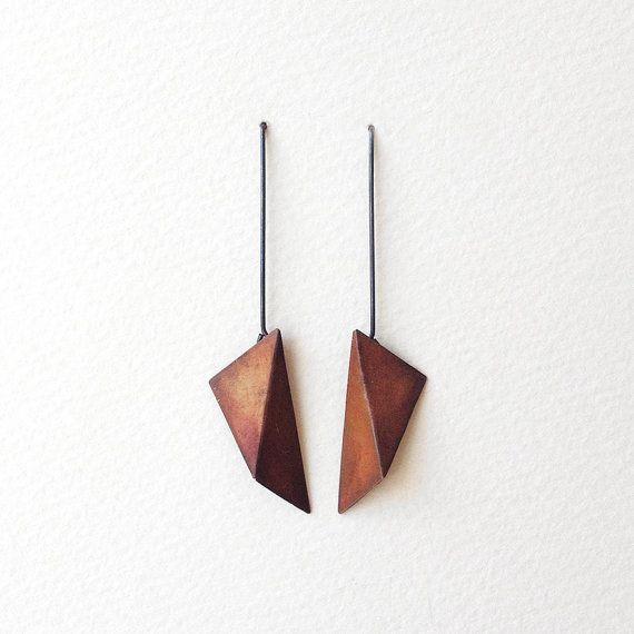 Geometric Copper Earrings Geometric Silver Earrings by RawObjekt