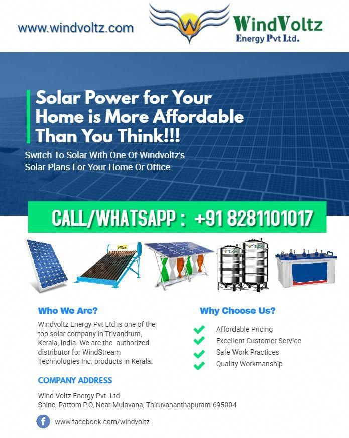Solar Power For Your Home Is More Affordable Than You Think Contact Windvoltz For All Of Your Solar Solution In 2020 Solar Solutions Solar Energy System Solar Power