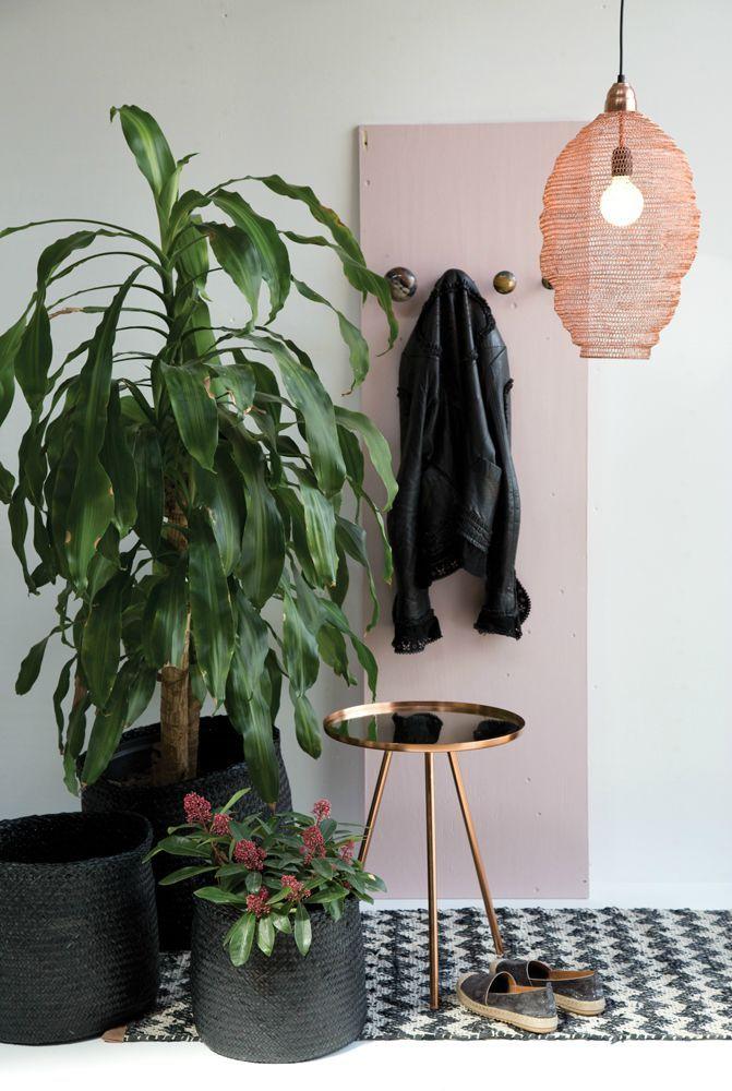 A. U Maison Autumn Winter Collection 2015 | Basket planters, brass table, copper mesh pendant