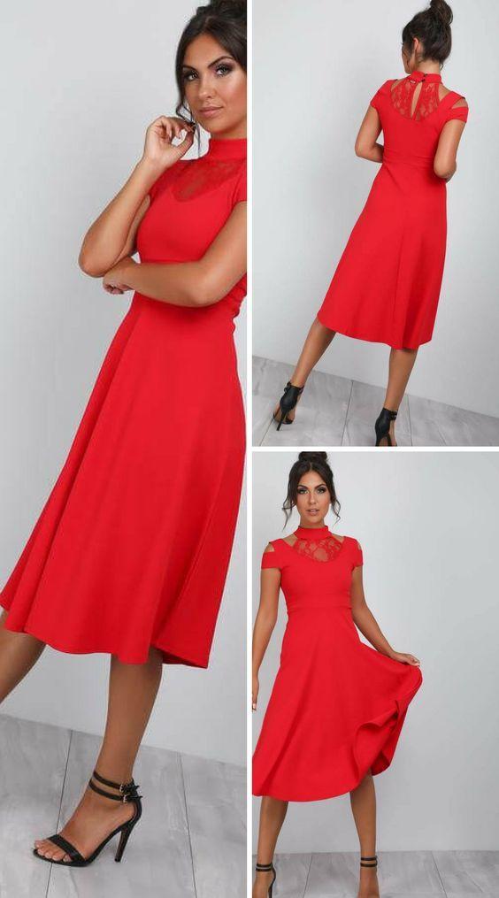 ac748c924e10d Millie High Neck Cold Shoulder Midi Swing Dress