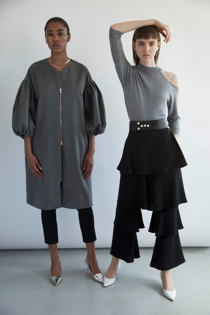 ...seeing a few of these drop shoulder/balloon sleeve silhouettes, love this elongated bomber version...
