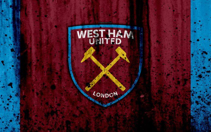 Indir duvar kağıdı FC West Ham United, 4k, Premier Lig, logo, İngiltere, futbol, futbol kulübü, grunge, West Ham United, sanat, taş doku, West Ham United FC