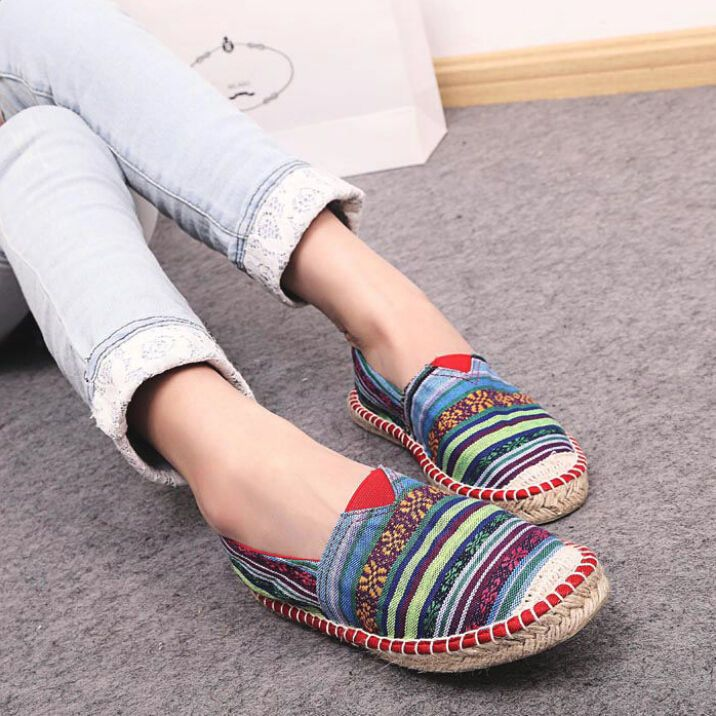 Women Canvas Flats Breathable Fashoin Oxford Shoe Pieced Ladies Espadrilles