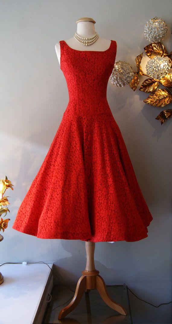 1950's Dress // Vintage 50s Red Lace Party Dress M | Lace ...