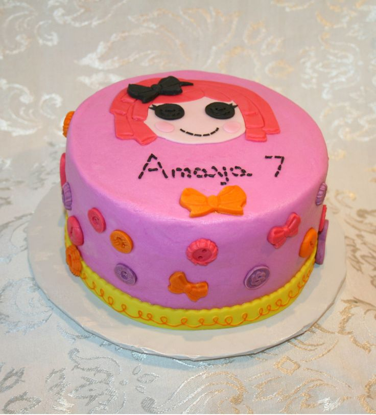 Lalaloopsy cake Red velvet cake covered in pink ...