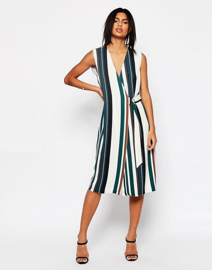 ASOS | ASOS Soft Wrap Dress In Stripe With D-Ring at ASOS