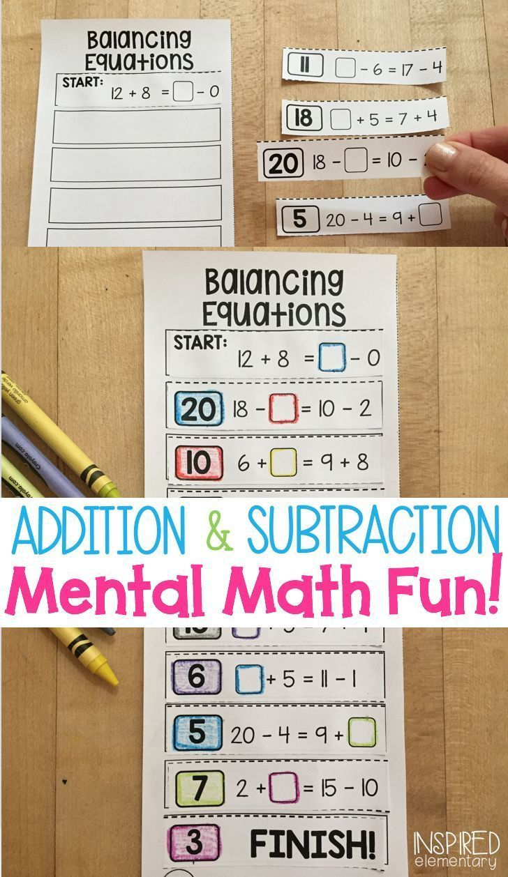 Balancing Equations Addition And Subtraction Solve It Strips Balancing Equations Math Activities Elementary Math Extension Activities Mental math addition activities