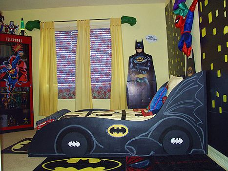 What kid wouldn't feel like a caped crusader in their own Batmobile bed?