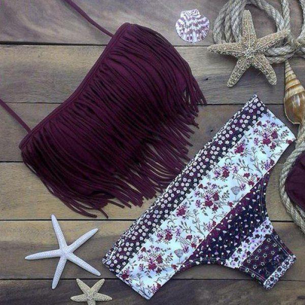 Stylish Halter Fringed Floral Printed Bikini Set For Women | TwinkleDeals.com