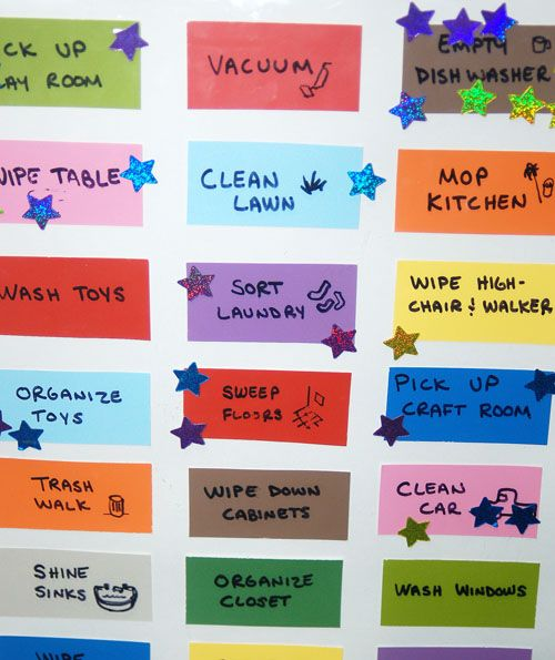 love this chore chart idea... Use paint chips on poster board ...