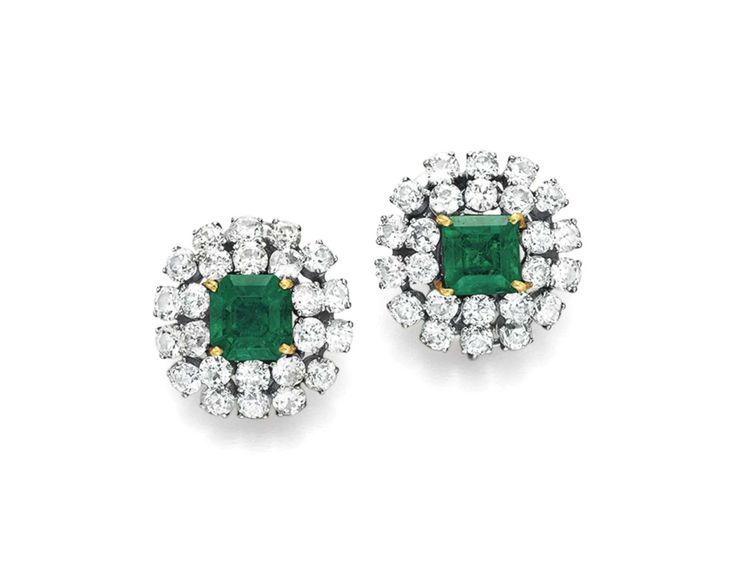 A PAIR OF EMERALD AND DIAMOND EAR CLIPS, BY DAVID WEBB