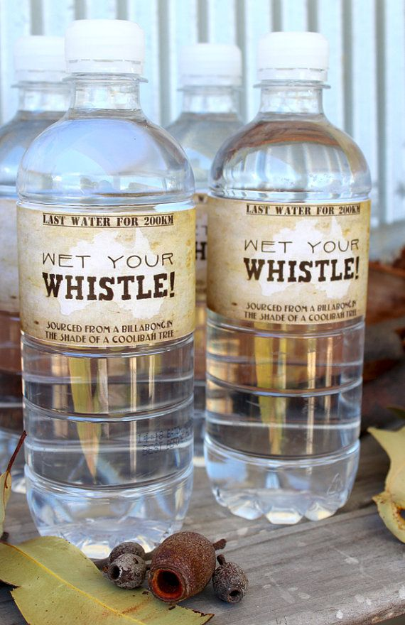 Australia Outback Water Bottle Labels INSTANT by SassabyParties