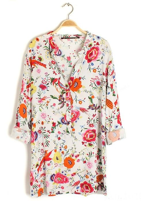 Multicolor Floral Print Buttons Stand Collar Cotton Blouse