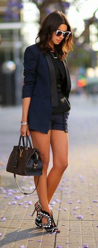 Shorts + blazer.                                                                                                                                                                                 More