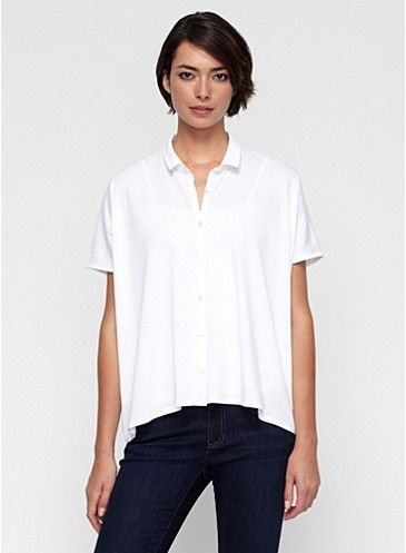 Classic Collar Boxy Shirt in Organic Cotton Easy Jersey