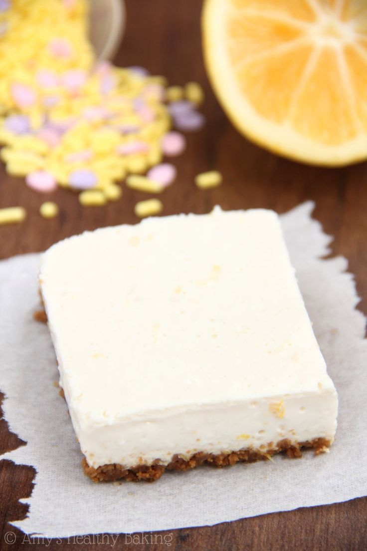 Skinny Lemon Gingersnap Cheesecake Bars -- smooth, creamy & packed with protein. Barely 100 calories each! 3 Weight Watchers pp