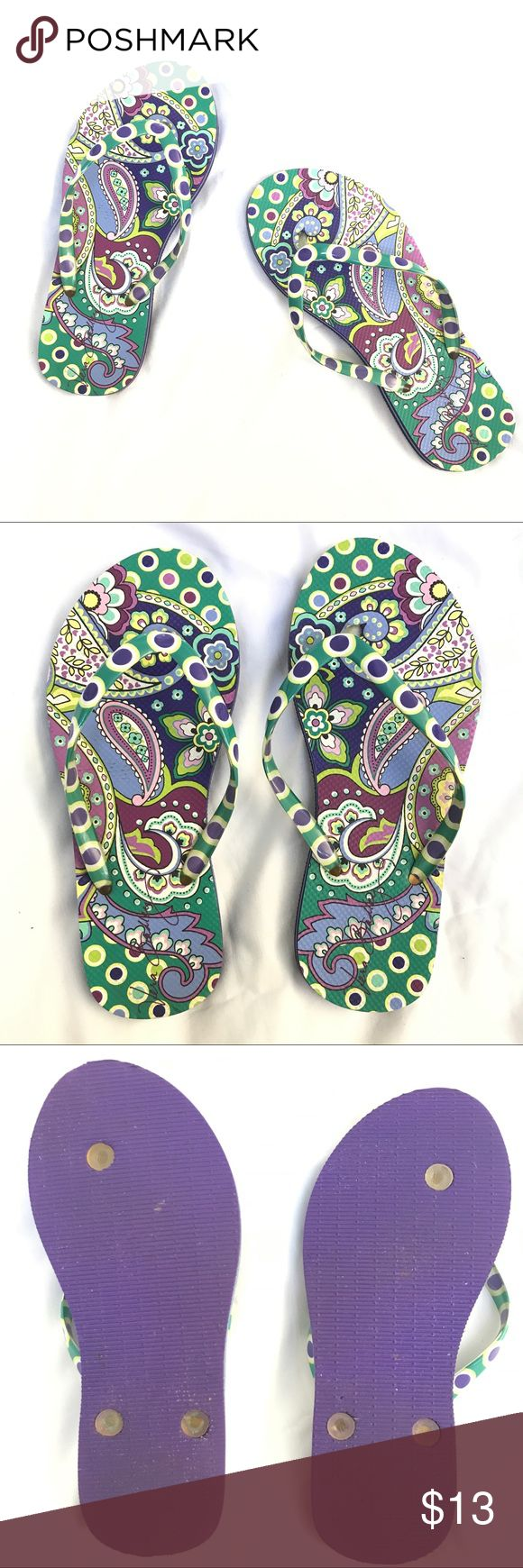 Vera Bradley Purple Green Flip Flop Sandals Bundle save 20% on your purchase, and I love offers!🎉😃🎉 These have been worn once, and cleaned.  Two words describe our Flip Flops: comfortable and cute. You'll be the belle of the boardwalk when you wear them! Textured anti-slip outer sole.  Dimensions S: 5 - 6 Vera Bradley Shoes Sandals