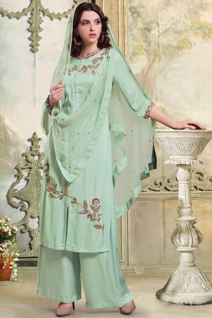 Green Resham Embroidered Cotton Silk Designer Salwars-SL8505 - Buy Online  #salwar #samyakk #silk #cotton #gown #embroidered #designer #indian #green