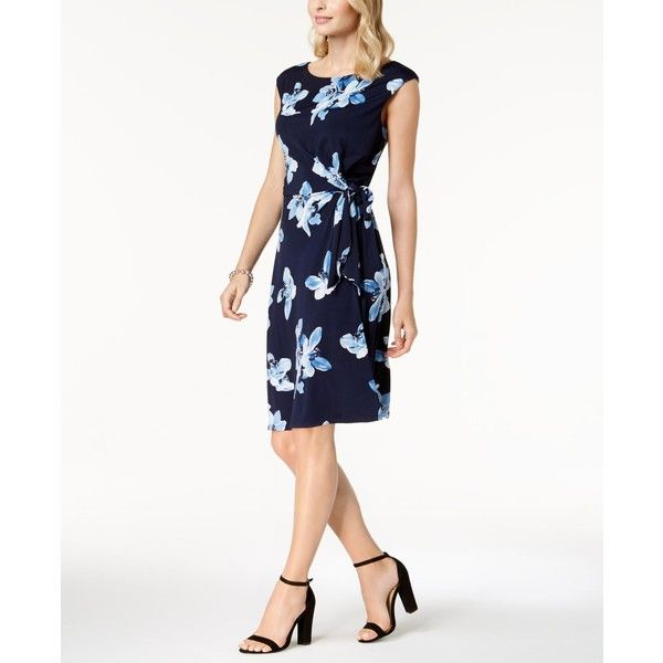 Connected Floral-Print Wrap Dress ($69) ❤ liked on Polyvore featuring dresses, navy, navy blue sheath dress, floral print dress, floral dresses, navy blue floral dress and white dress