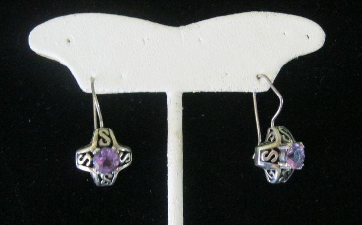 Sterling Silver 925 Pierced Earrings Vintage Estate Unknown stones