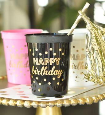 Happy Birthday copas set de 25 para Cumpleanos o Quinceaneras