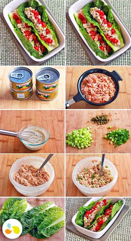 Salada de atum na folha de acelga! Misture 1 lata de atum em água, 1 colher de sopa de maionese light (ou iogurte grego), 1 colher de chá de mostarda escura, suco de ½ limão, ½ cebola picada, alho-poró, aipo, sal e pimenta do reino a gosto. Agora é só colocar a salada nas folhas de acelga e servir!