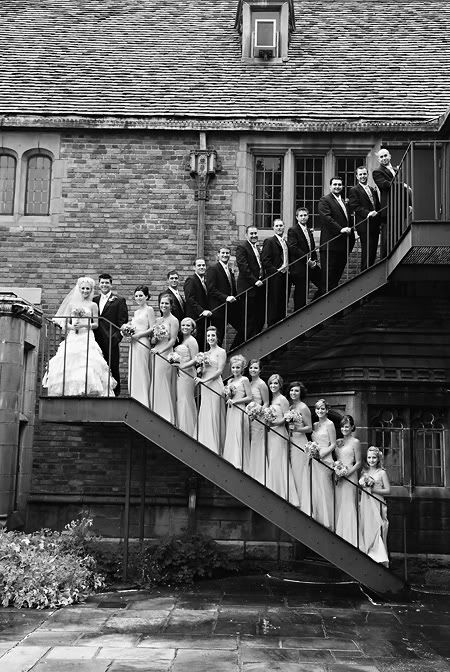wedding party on steps