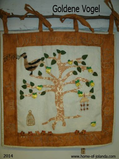 Fairy tale wall hanging where a prince has to marry a princess for whom he has to find a golden apple and a golden bird...