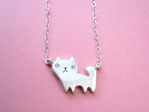 Tiny Cat Pendant  Animal Silver Necklace by StudioRhino on Etsy, $39.00