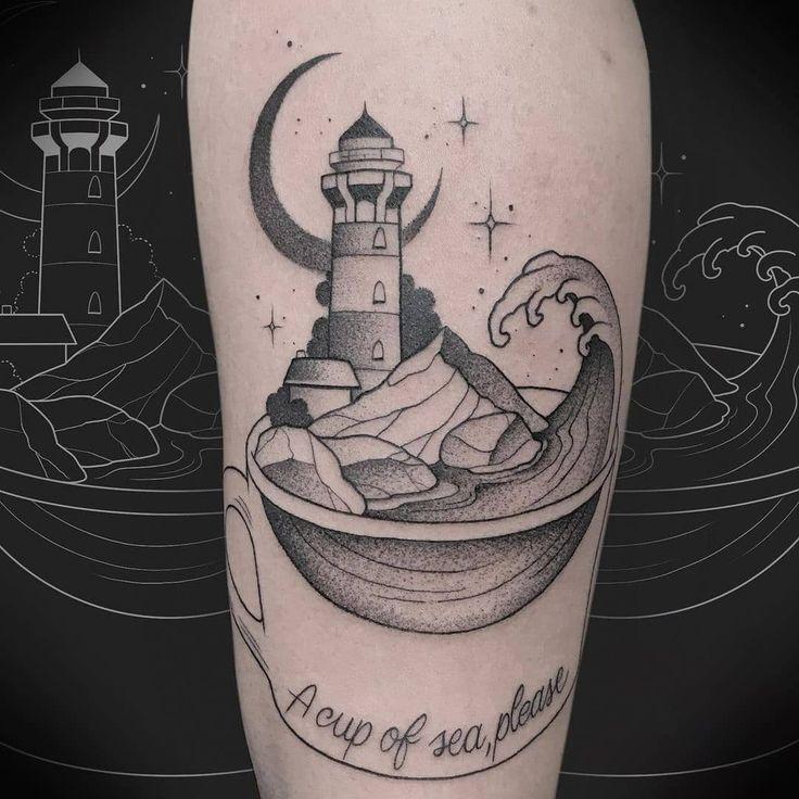 """Mi piace"": 242, commenti: 8 - la dolce vita tattoo (@tattooladolcevita) su Instagram: ""Reposted from @giadalazybastard Grazie @antitudine ! . . . #tattoo #blackworktattoo…"" #ladytattoers #parma #tatuaggio #tatuaggi #tatuaggiobiancoenero #escapetattoo #sea #lighthousetattoo #faro #mare #luna"