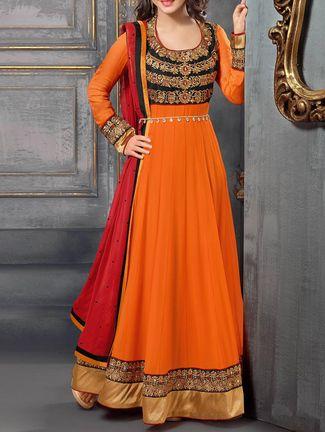 orange embroidered chanderi cotton semi-stitched anarkali suit set