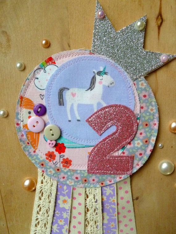 Unicorn Rosette // Birthday // Badge // Princess by KatiesShed