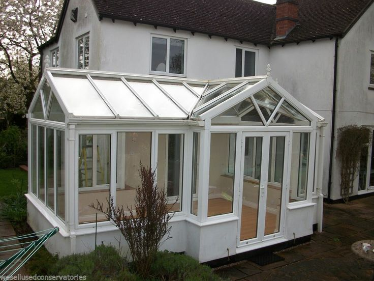 Used Large Aluminium White Conservatory 5460 mm x 3510 mm with Glass Roof
