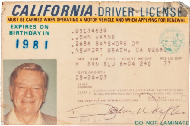 Issued in 1977, two years before he died, John Waynes California drivers license sold for $89,625 in a public auction conducted in Los Angeles and online by Heritage Auctions, Oct. 6 and 7, 2011. It was among over 700 awards, costumes, documents and other memorabilia Waynes family offered to fans in the $5.3 million auction. (AP Photo/Heritage Auctions)