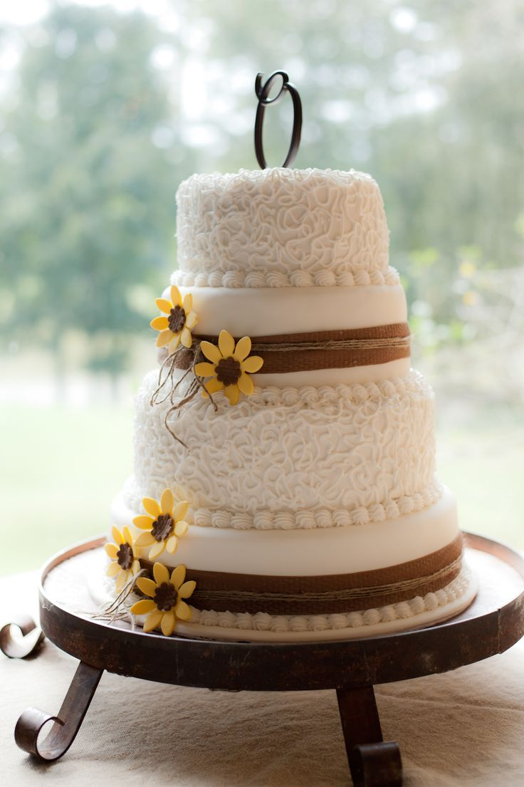 sunflower and burlap wedding cake | rustic wedding cake | sunflower wedding cake | country wedding cake