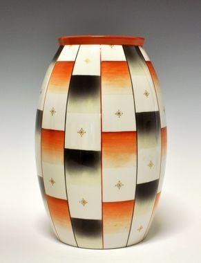 Floor vase by Nora Gulbrandsen for Porsgrund Porselen. 1937 Prot. Model nr 1723b. Decor nr 539