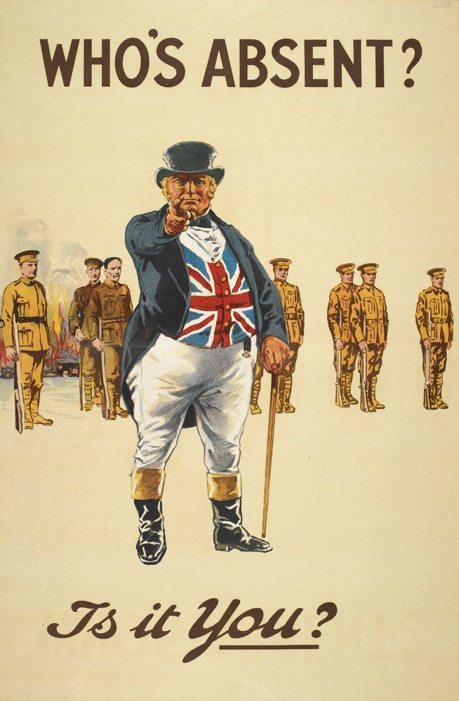 WW1 recruiting poster: John Bull demands to know who hasn't volunteered yet. Behind him are rows of soldiers, already being slaughtered in the trenches.