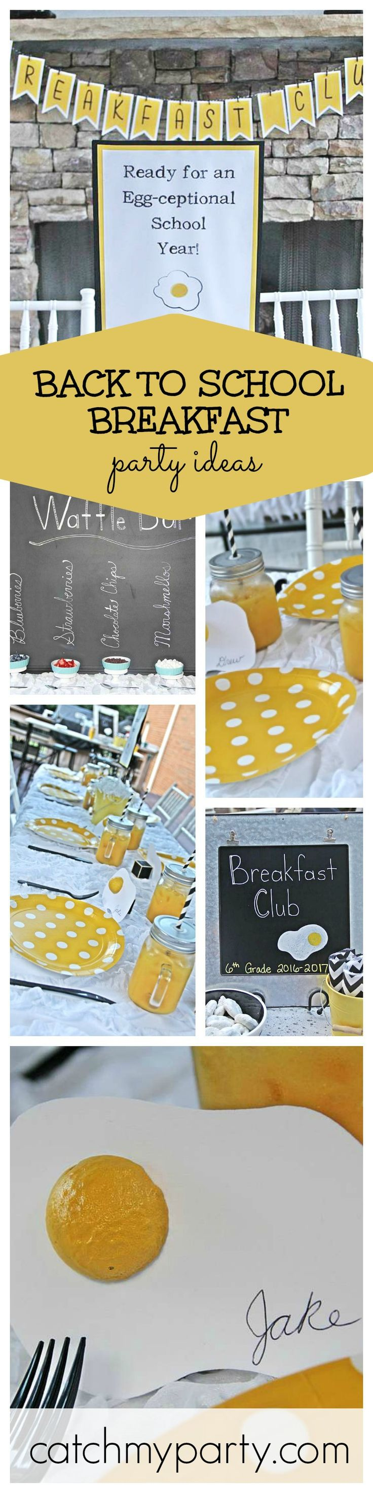 An Egg-Ceptional Back to school breakfast party! What an egg-celent theme! The best was to way to start off the school year! A great way the start off the school year! See more party ideas at CatchMyParty.com