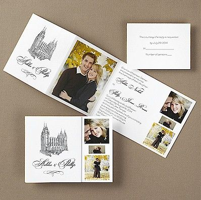 collage lds wedding invitation but instead of the temple and names have it say