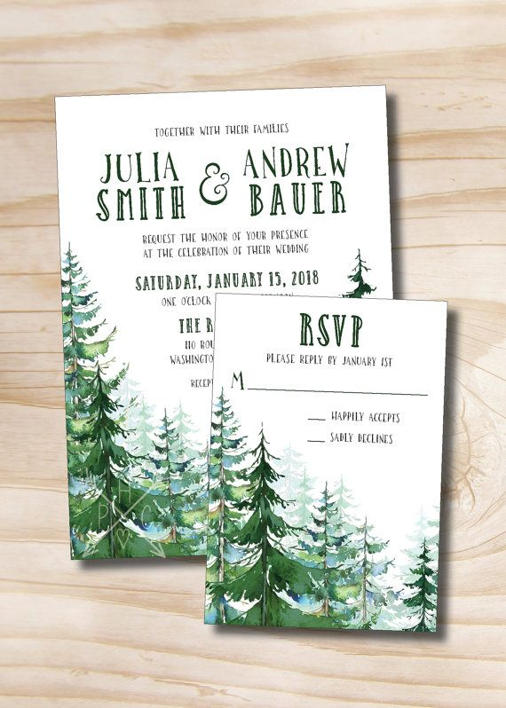 Watercolor Pine Tree Wedding Invitation/Response Card >>> WHATS INCLUDED <<< Your purchase includes ONE of the below options:  PRINTED SAMPLE SET: Includes: 1 single sided 5x7 invitation with generic information filled in 1 single sided 5x3.5 response card with generic information filled in White or cream invitation & Response Card envelope Standard shipping Most samples are on are pre-printed on our 130 lb signature stock.  DIGITAL ONLY DESIGN: Includes Single side...