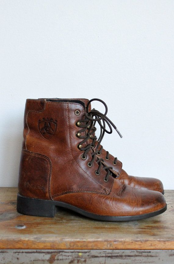 Brown Lace Up Womens Boots