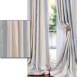 Blue/ Grey/ Gold Stripe Faux Silk Taffeta 84-inch Curtain Panel
