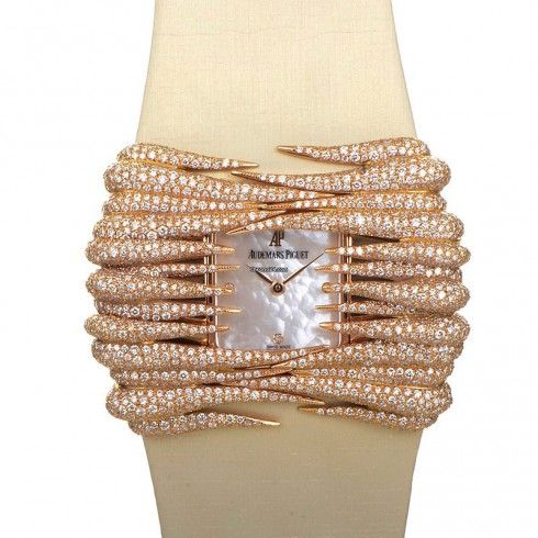 for sale Audemars Piguet Givrine Mother of Pearl Diamond Dial Rose Gold Ladies Watch 77224OR.ZZ.A012SU.01