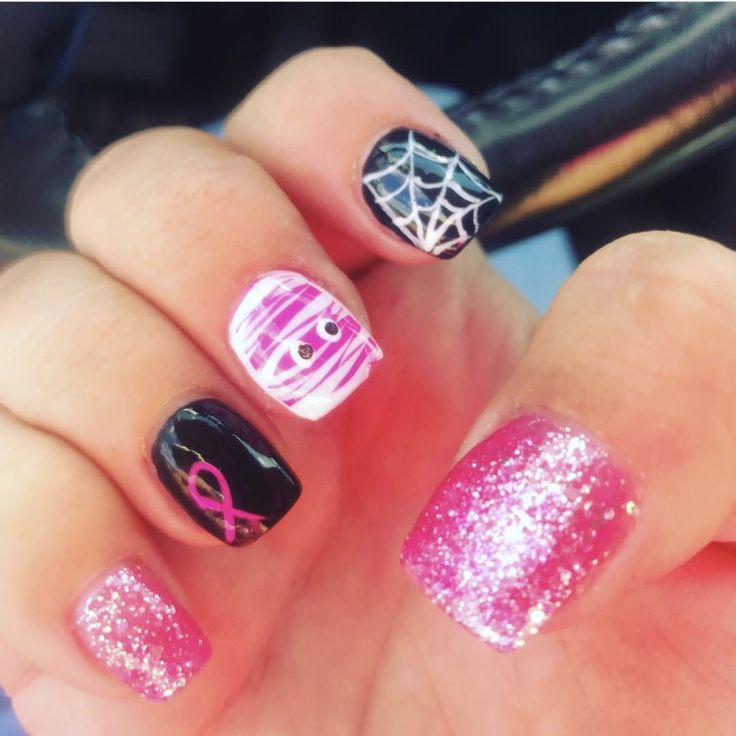 Halloween and Breast Cancer Awareness super cute nails. October nails - Best 25+ October Nails Ideas On Pinterest Halloween Nail Designs