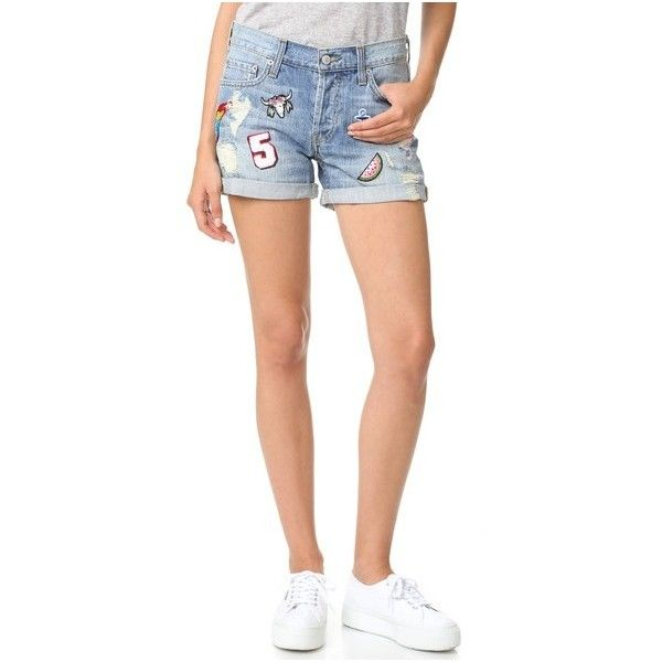 RAILS Logan Patchwork Shorts ($200) ❤ liked on Polyvore featuring shorts, medium vintage wash, torn shorts, ripped shorts, relaxed fit shorts, american shorts and relaxed shorts