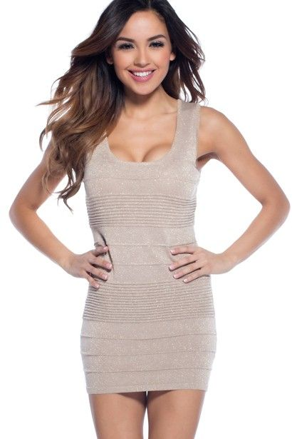 Sleeveless taupe textured bandage dress