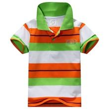 6 Colors Children T-Shirt Baby Boys Multi Color Short Sleeve Striped Cotton Tops Blouse(China (Mainland))